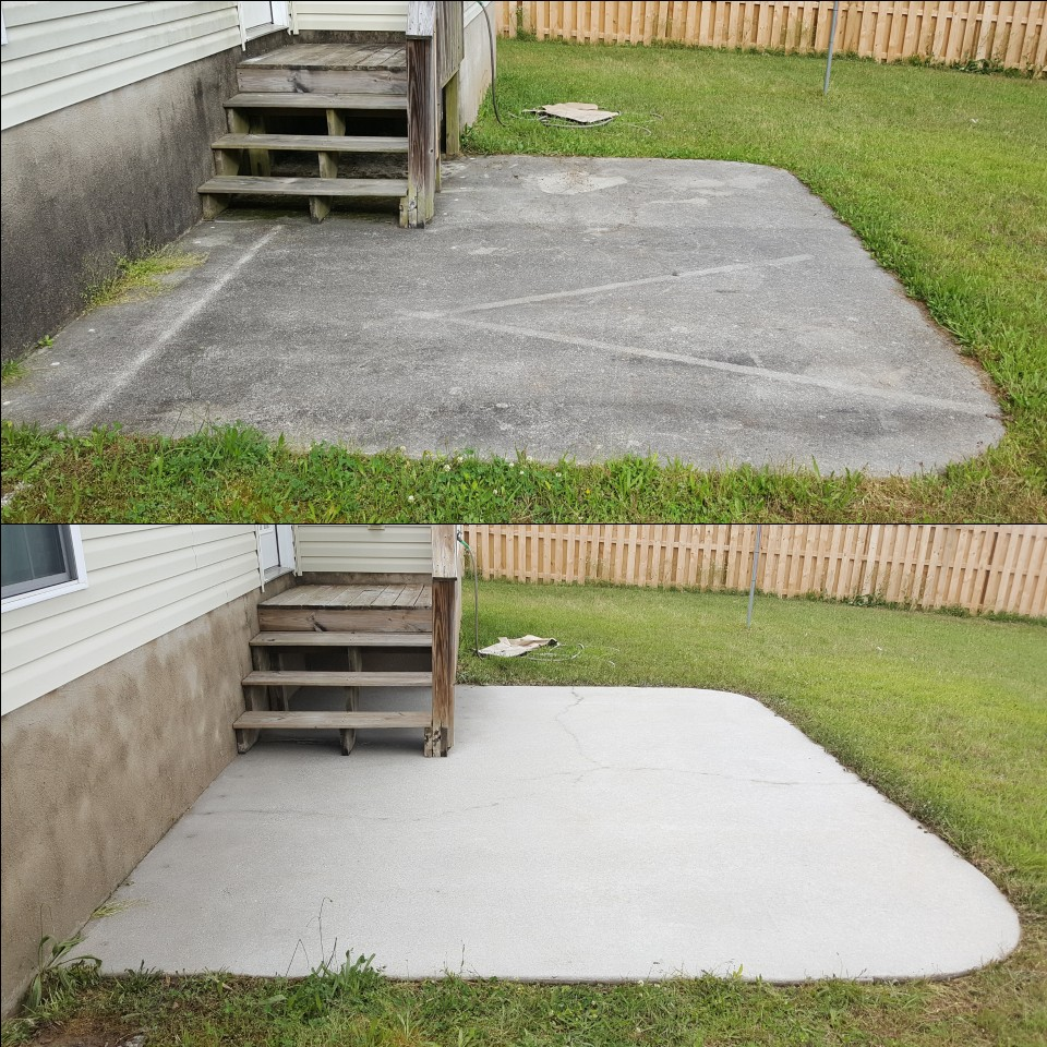 concrete patio before after